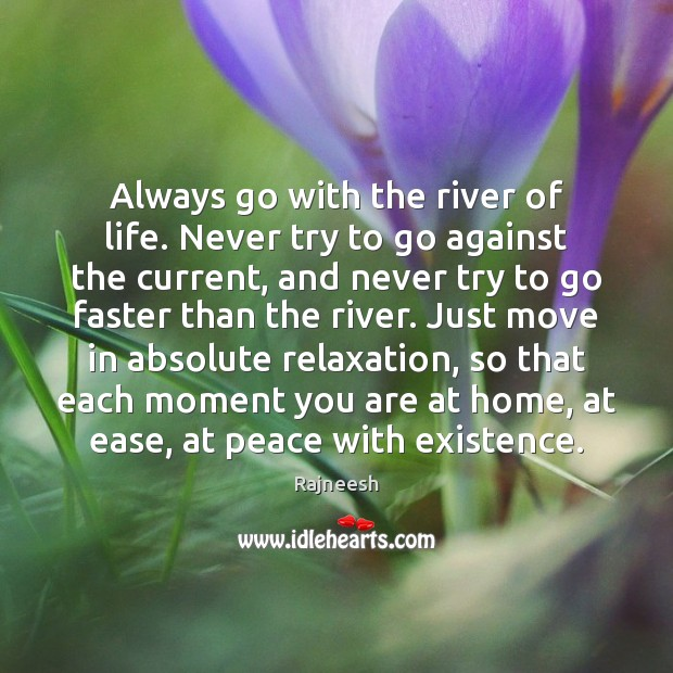 Image, Always go with the river of life. Never try to go against