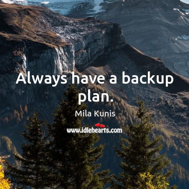 Always have a backup plan. Image