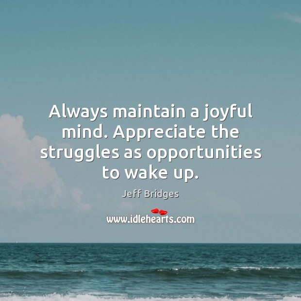 Always maintain a joyful mind. Appreciate the struggles as opportunities to wake up. Image