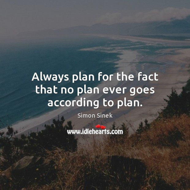 Image, Always plan for the fact that no plan ever goes according to plan.