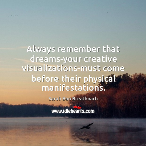 Always remember that dreams-your creative visualizations-must come before their physical manifestations. Image