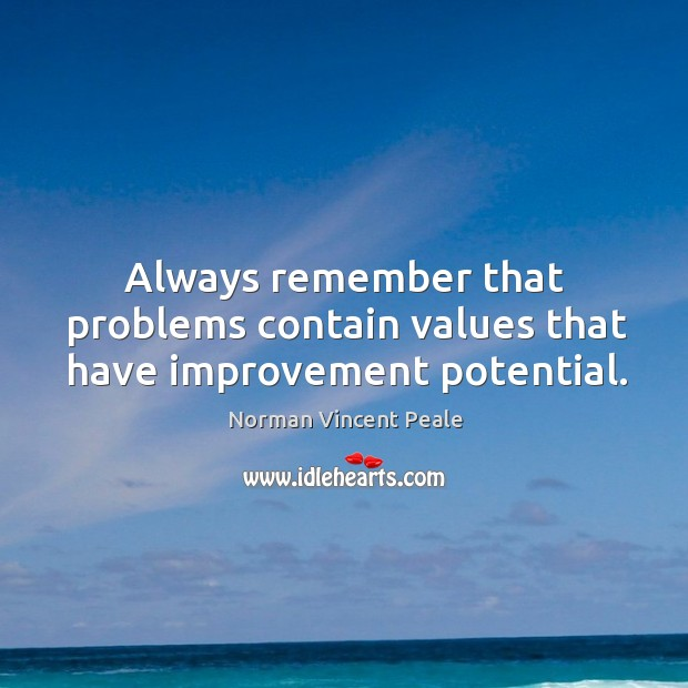 Always remember that problems contain values that have improvement potential. Image