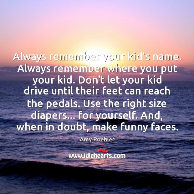 Always remember your kid's name. Always remember where you put your kid. Amy Poehler Picture Quote