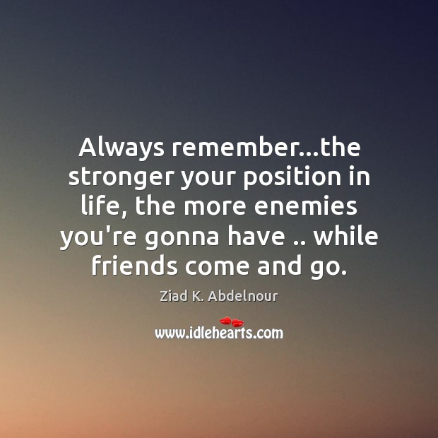 Image, Always remember…the stronger your position in life, the more enemies you're