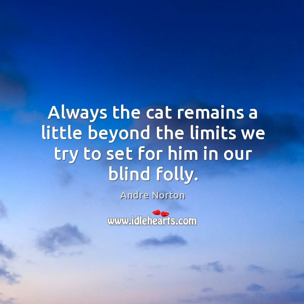 Image, Always the cat remains a little beyond the limits we try to set for him in our blind folly.