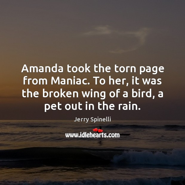 Amanda took the torn page from Maniac. To her, it was the Jerry Spinelli Picture Quote