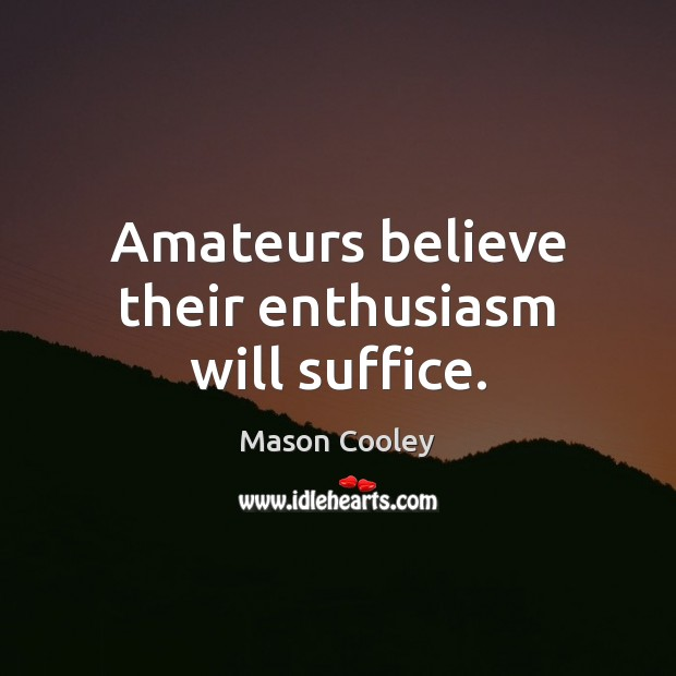 Amateurs believe their enthusiasm will suffice. Image
