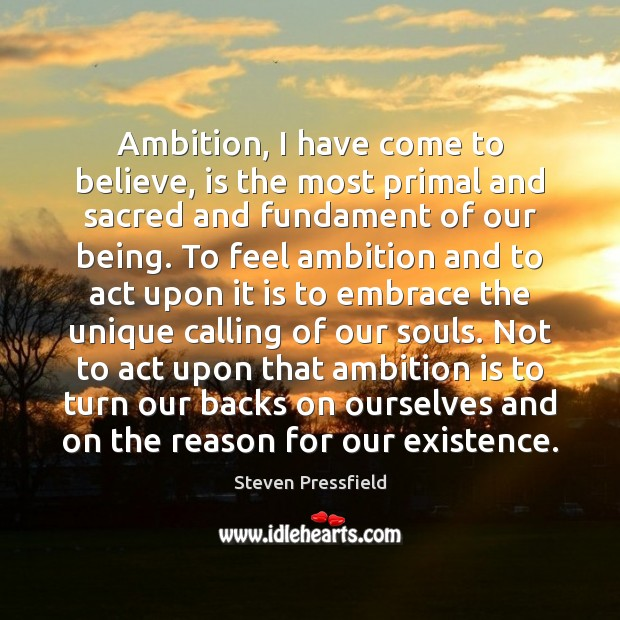 Ambition, I have come to believe, is the most primal and sacred Image