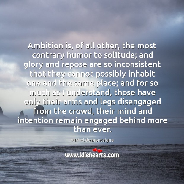 Image, Ambition is, of all other, the most contrary humor to solitude; and