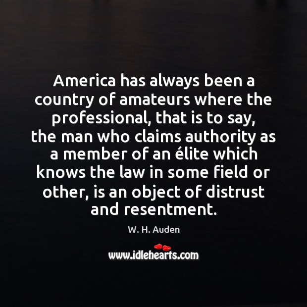 America has always been a country of amateurs where the professional, that Image