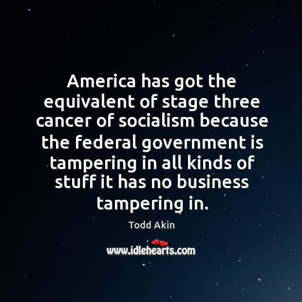 America has got the equivalent of stage three cancer of socialism because Todd Akin Picture Quote