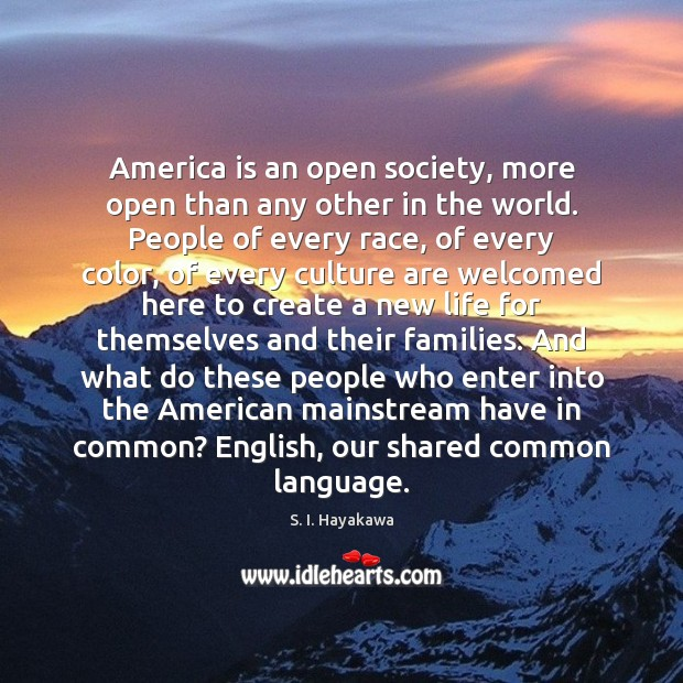 Image, America is an open society, more open than any other in the