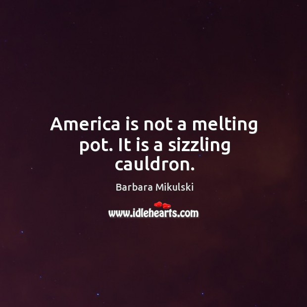 America is not a melting pot. It is a sizzling cauldron. Image