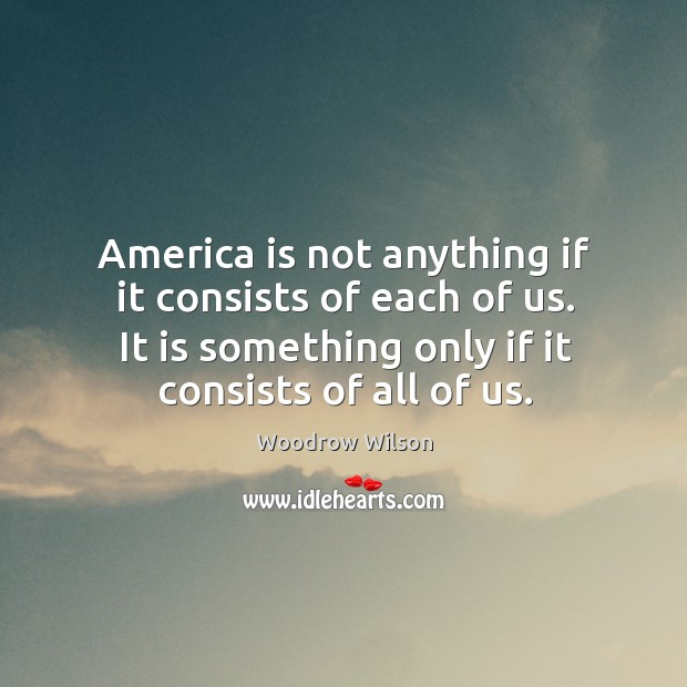 Image, America is not anything if it consists of each of us. It is something only if it consists of all of us.