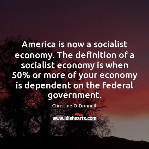 America is now a socialist economy. The definition of a socialist economy Image