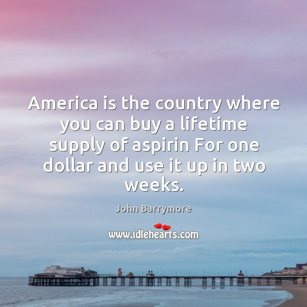 Image, America is the country where you can buy a lifetime supply of aspirin for one dollar and use it up in two weeks.