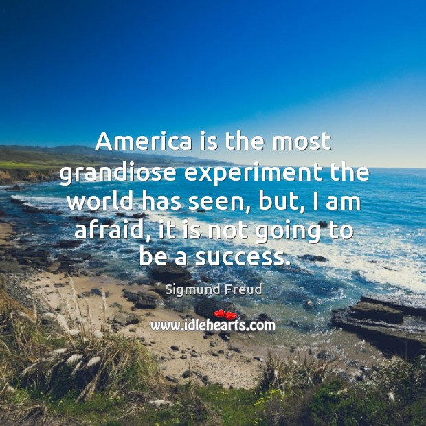 Image, America is the most grandiose experiment the world has seen, but, I am afraid, it is not going to be a success.