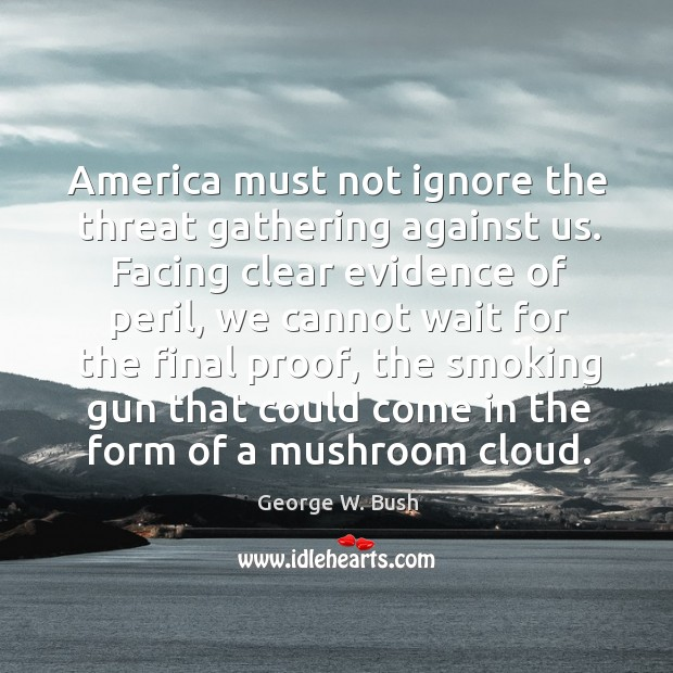 Image, America must not ignore the threat gathering against us.