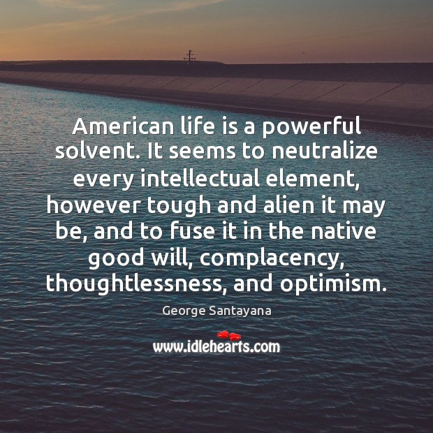 Image, American life is a powerful solvent. It seems to neutralize every intellectual