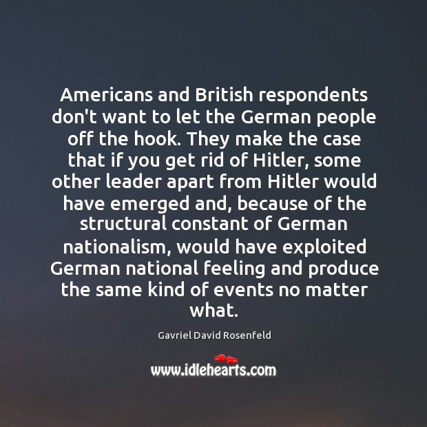 Image, Americans and British respondents don't want to let the German people off
