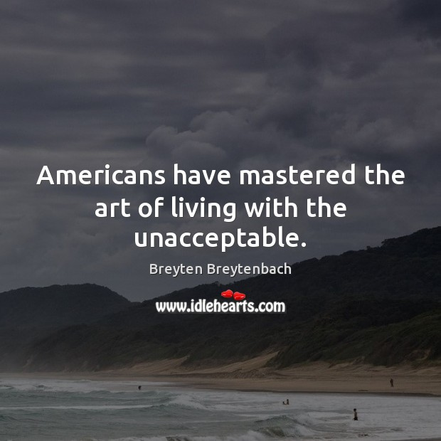 Image, Americans have mastered the art of living with the unacceptable.