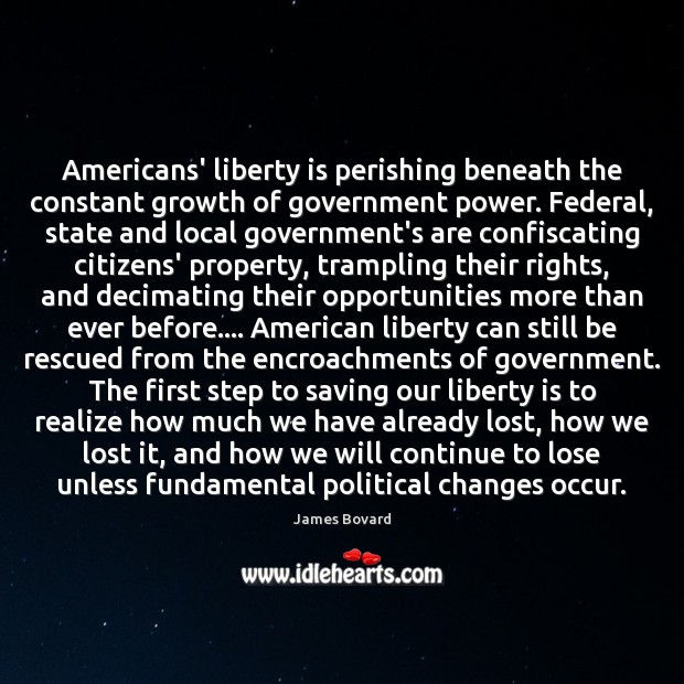 Americans' liberty is perishing beneath the constant growth of government power. Federal, James Bovard Picture Quote