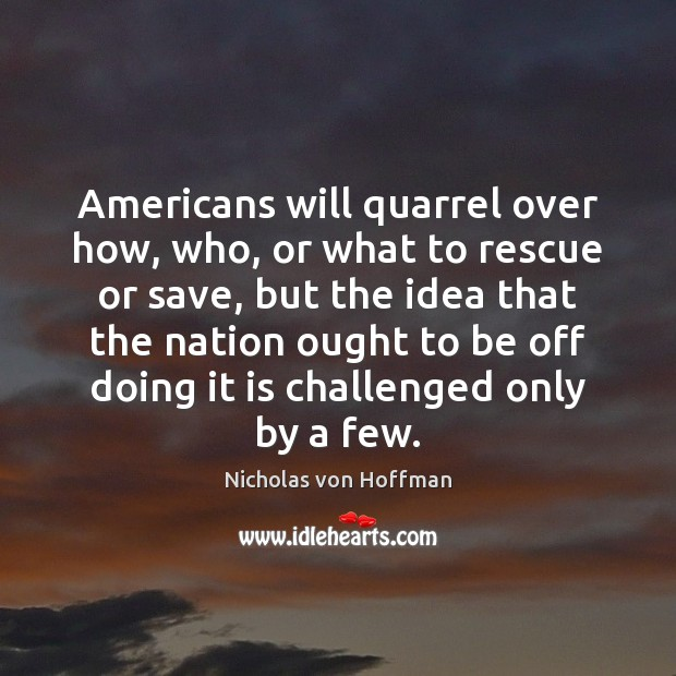 Americans will quarrel over how, who, or what to rescue or save, Image