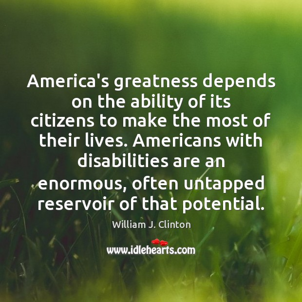 America's greatness depends on the ability of its citizens to make the Image