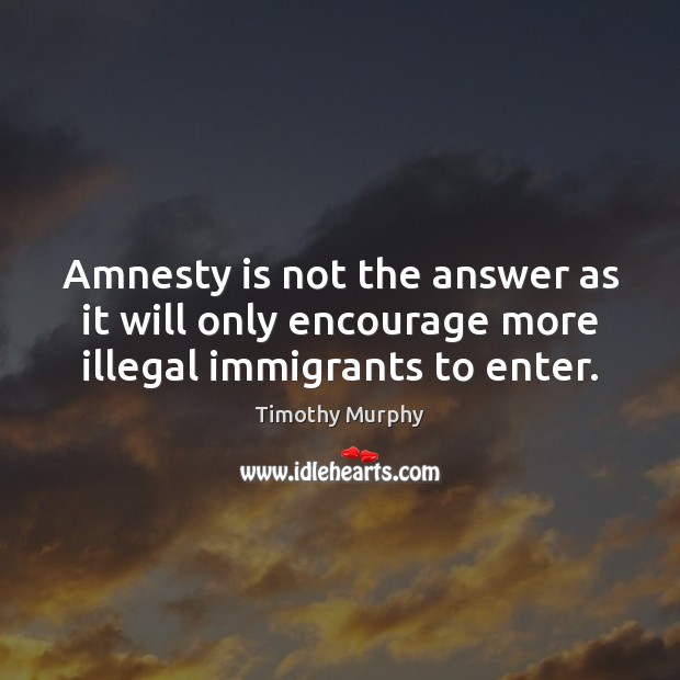 Image, Amnesty is not the answer as it will only encourage more illegal immigrants to enter.