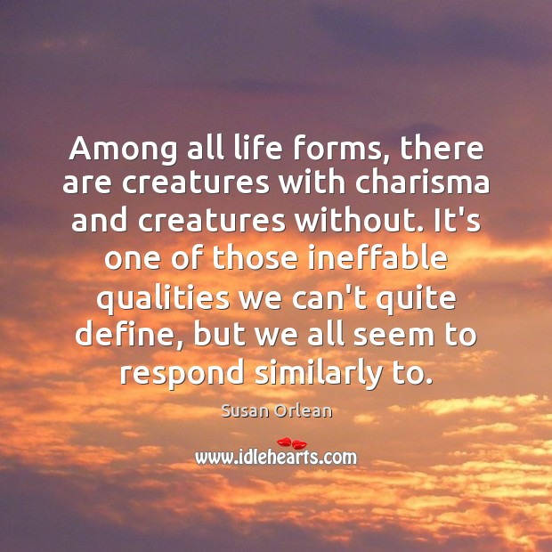 Among all life forms, there are creatures with charisma and creatures without. Susan Orlean Picture Quote