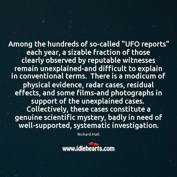 """Among the hundreds of so-called """"UFO reports"""" each year, a sizable fraction Image"""