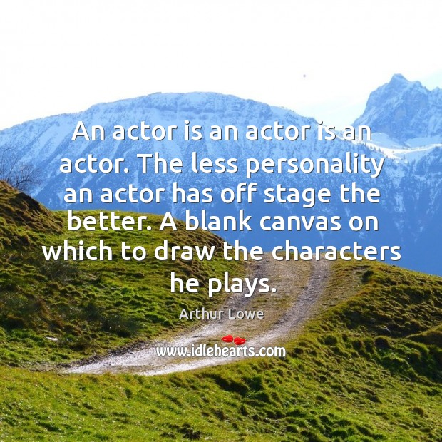 Image, An actor is an actor is an actor. The less personality an actor has off stage the better.