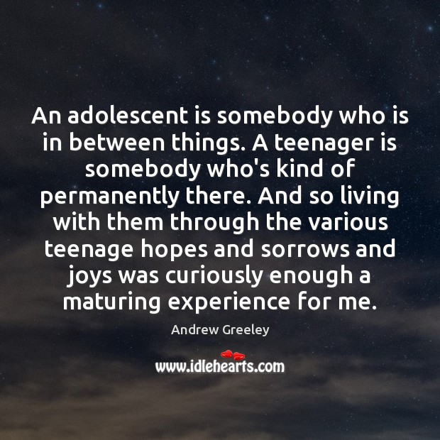Image, An adolescent is somebody who is in between things. A teenager is