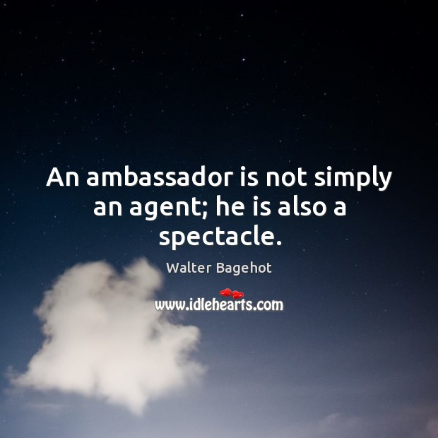 An ambassador is not simply an agent; he is also a spectacle. Image