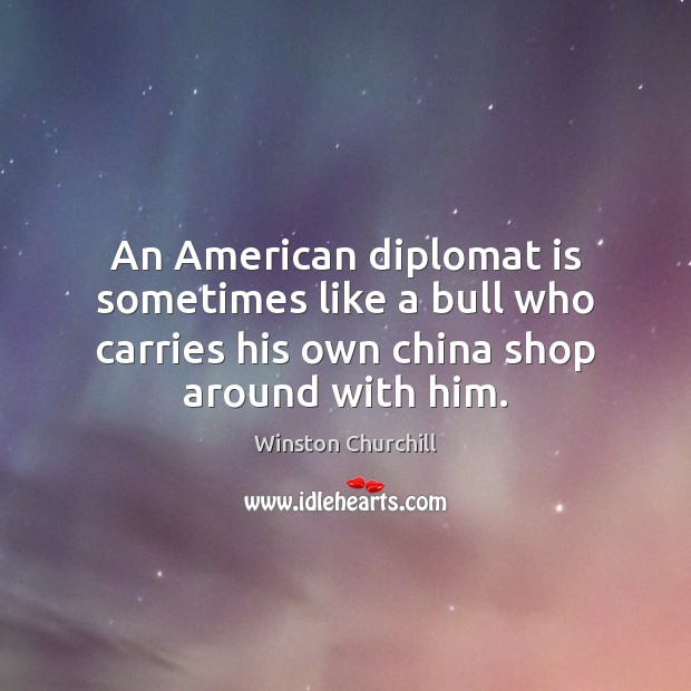An American diplomat is sometimes like a bull who carries his own Image