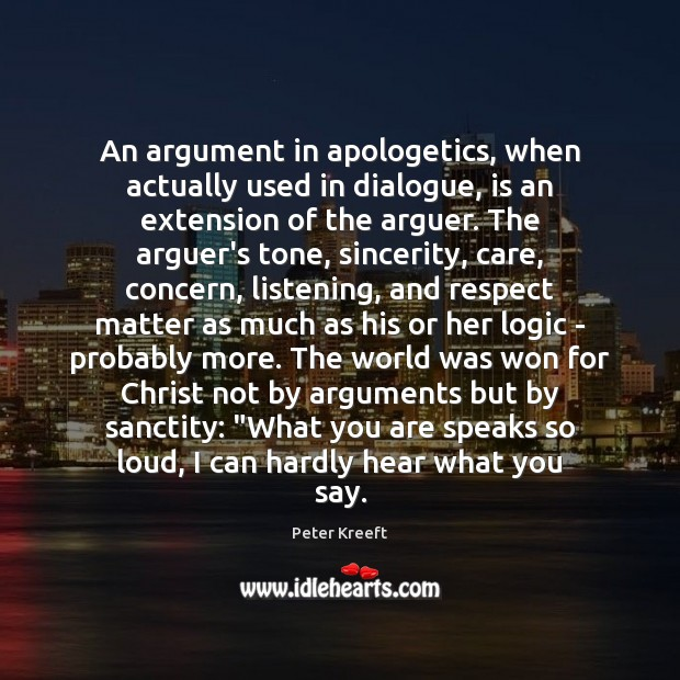 Image, An argument in apologetics, when actually used in dialogue, is an extension