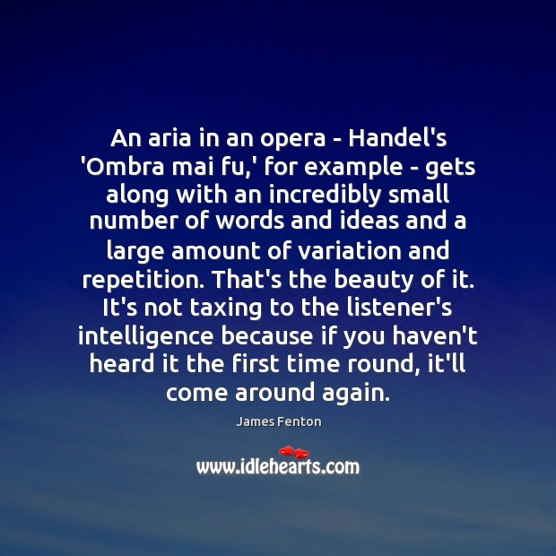 Image, An aria in an opera – Handel's 'Ombra mai fu,' for