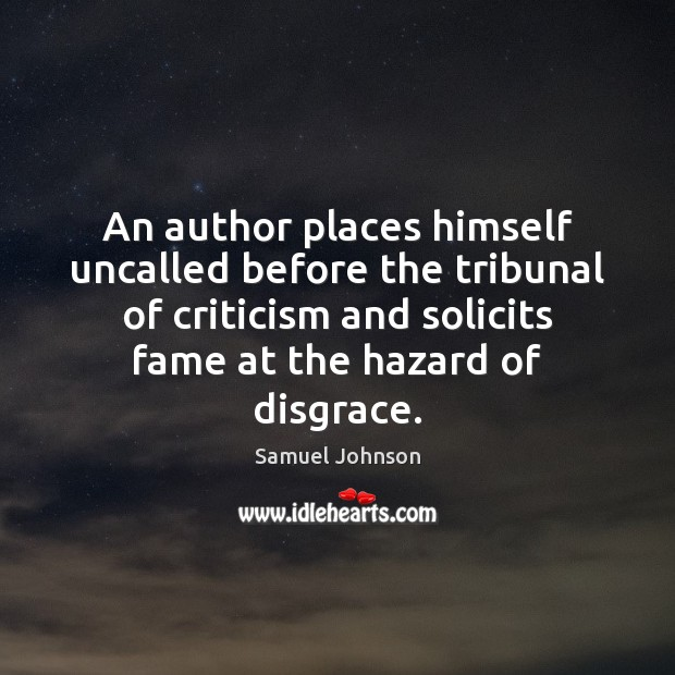 Image, An author places himself uncalled before the tribunal of criticism and solicits