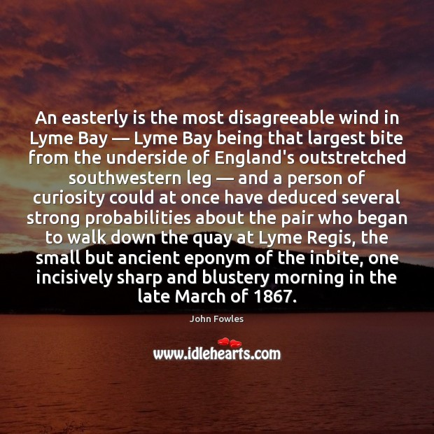 An easterly is the most disagreeable wind in Lyme Bay — Lyme Bay John Fowles Picture Quote