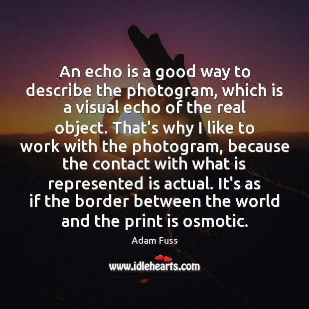 Image, An echo is a good way to describe the photogram, which is
