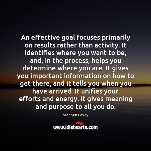 An effective goal focuses primarily on results rather than activity. It identifies Stephen Covey Picture Quote