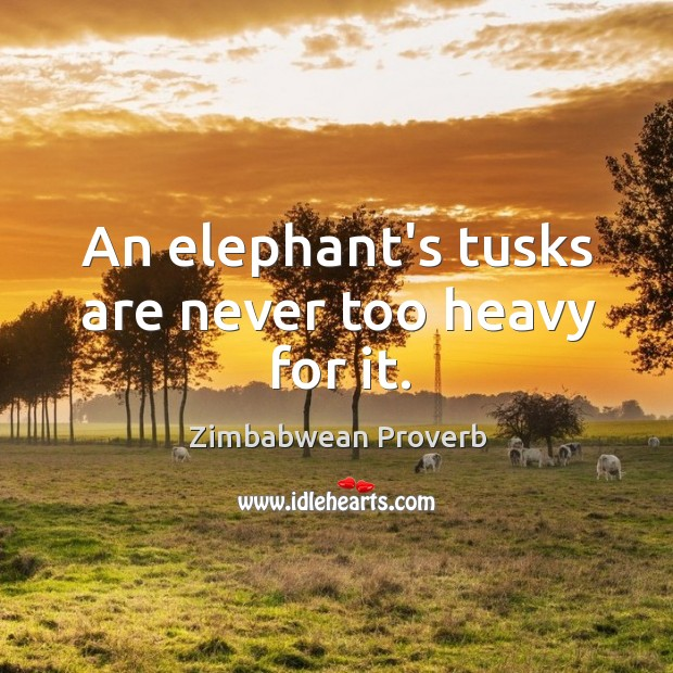 An elephant's tusks are never too heavy for it. Zimbabwean Proverbs Image