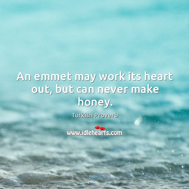 An emmet may work its heart out, but can never make honey. Turkish Proverbs Image