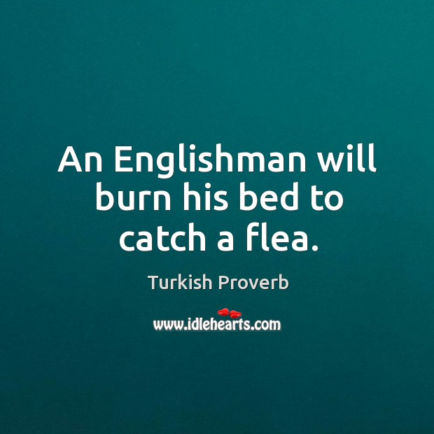 An englishman will burn his bed to catch a flea. Turkish Proverbs Image