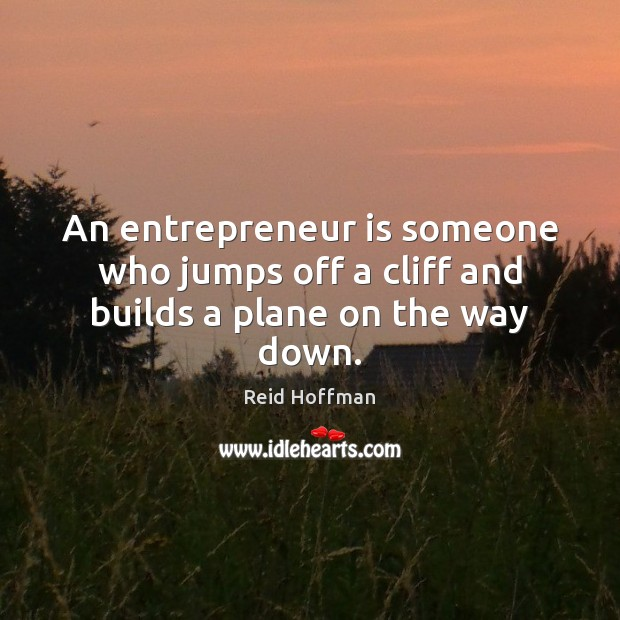 An entrepreneur is someone who jumps off a cliff and builds a plane on the way down. Reid Hoffman Picture Quote