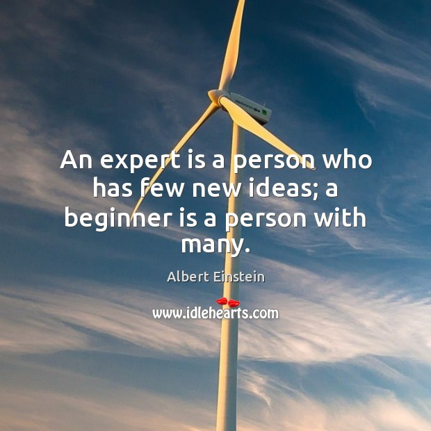 Image, An expert is a person who has few new ideas; a beginner is a person with many.