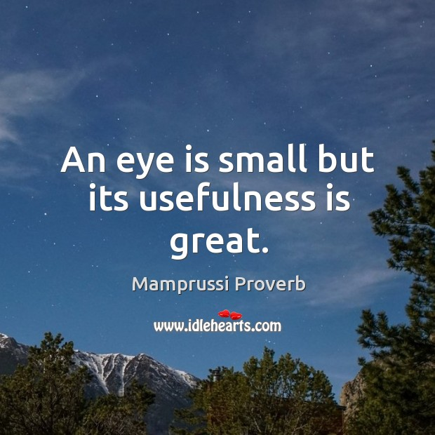 An eye is small but its usefulness is great. Mamprussi Proverbs Image