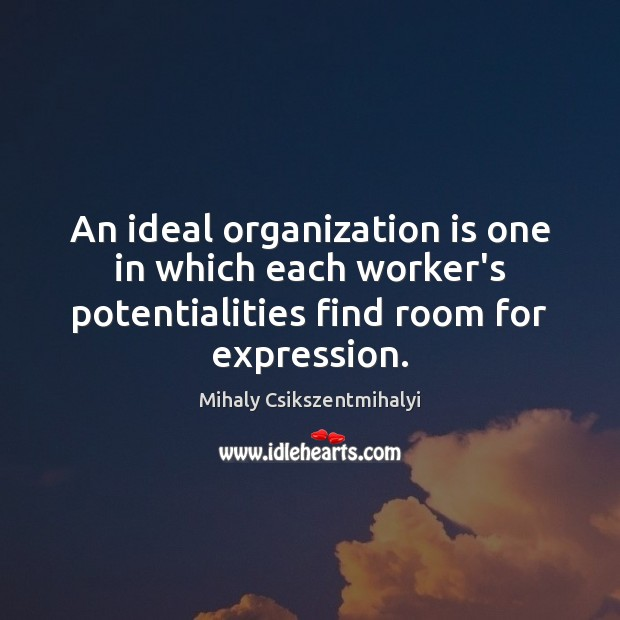 Image, An ideal organization is one in which each worker's potentialities find room