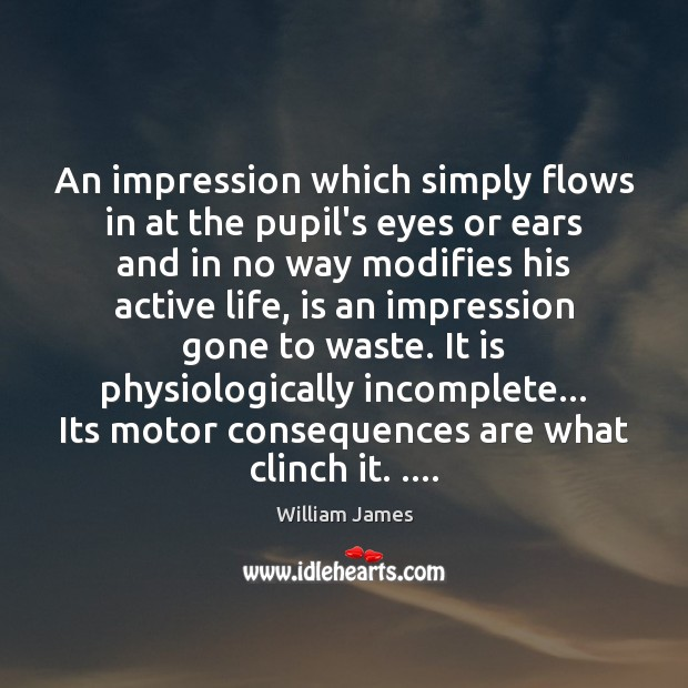 An impression which simply flows in at the pupil's eyes or ears William James Picture Quote