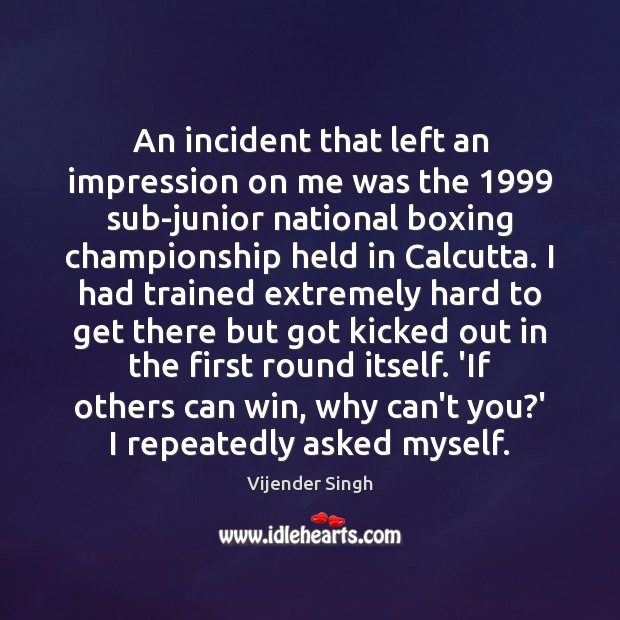 An incident that left an impression on me was the 1999 sub-junior national Image